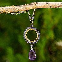 Gold plated iolite and amethyst pendant necklace,