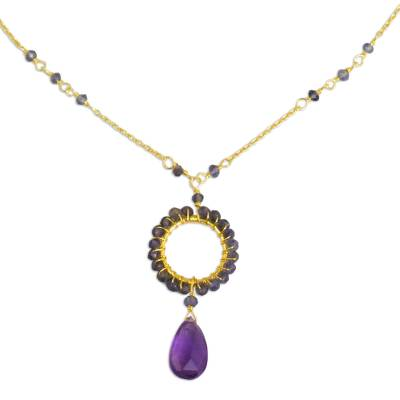 24k Gold Plated Silver Necklace with Iolite and Amethyst