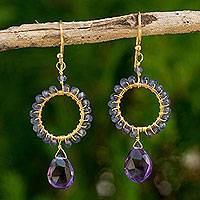 Gold plated iolite and amethyst beaded earrings,
