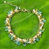 Gold plated cultured pearl and multi-gemstone beaded bracelet, 'Fantastic Rainforest'