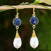 Gold plated cultured pearl and sapphire dangle earrings,