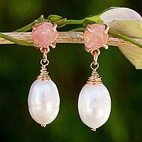 Gold plated cultured pearl and rose quartz dangle earrings, 'Romantic Rose' - Rose Quartz and Pearl on Pink Gold Plated Earrings