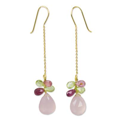 Tourmaline and Pink Chalcedony on Gold Plated Earrings