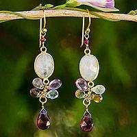 Gold plated moonstone and tourmaline dangle earrings, 'Rainbow Snow' - Moonstone Garnet and Tourmaline 24k Gold Plated Earrings
