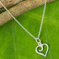 Sterling silver heart necklace, 'Love Promise' - Sterling Silver Heart Pendant Necklace from Thailand