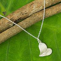 Sterling silver heart necklace, 'With Love' - Sterling Silver Heart Pendant Necklace from Thailand