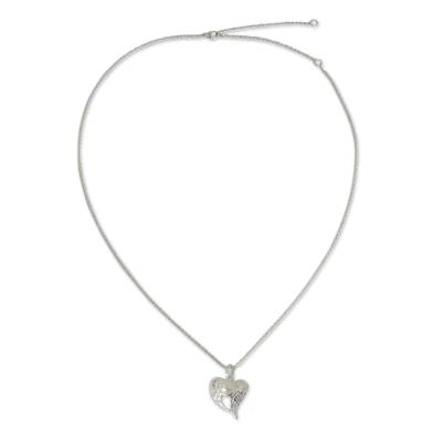 Cultured pearl heart necklace, 'Angelic Love' - Winged Heart Sterling Silver and Pearl Pendant Necklace