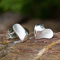 Sterling silver heart earrings, 'With Love' - Heart Button Earrings Sterling Silver Thai Artisan Jewelry