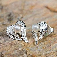 Cultured pearl heart earrings, 'Angelic Love' - Winged Heart Sterling Silver and Pearl Button Earrings