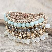 Moonstone and amazonite wristband bracelet, 'Sukhothai Chic' - Multi Gemstone Crocheted Wristband Bracelet from Thailand