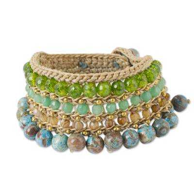 Blue Green Beaded Gemstone Wristband Bracelet from Thailand