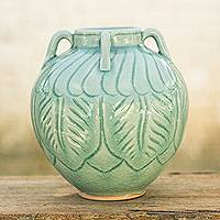 Celadon ceramic vase, 'Beautiful Aqua Sawankhalok' - Light Blue Celadon Ceramic Vase with Leafy Patterns