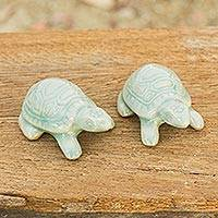Celadon ceramic figurines, 'Sky Blue Resilient Turtles' (pair) - Celadon Ceramic Turtle Sculptures in Light Blue (Pair)