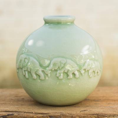 Celadon ceramic vase, 'Jade Elephant Parade' - Round Celadon Ceramic Elephant Vase with Glazed Finish