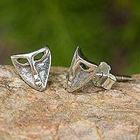 Sterling silver button earrings, 'Modern Mask' - Sterling Silver Theater Mask Button Earrings from Thailand