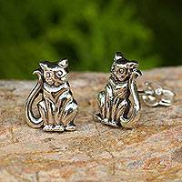 Sterling silver button earrings, 'Contented Kittens'