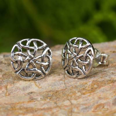 Sterling silver button earrings, 'Intertwined' - Fair Trade Thai Sterling Silver Button Earrings