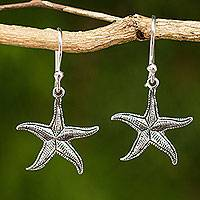 Sterling silver dangle earrings, 'Starfish' - Artisan Crafted Sea Theme Silver Hook Earrings from Thailand