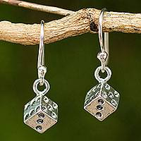 Sterling silver dangle earrings, 'Lucky Dice' - Handmade Sterling Silver Dice Dangle Earrings from Thailand