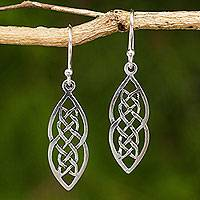 Sterling silver dangle earrings, 'Celtic Braid' - Hand Crafted Thai Celtic Theme Sterling Silver Earrings