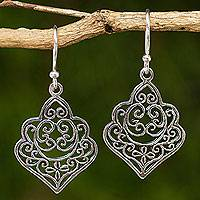 Sterling silver dangle earrings, 'Arabesque' - Thai Handmade Ornate Sterling Silver Dangle Earrings