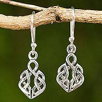 Sterling silver dangle earrings, 'Celtic Dara Knot' - Hand Crafted Thai Celtic Oak Root Theme Silver Earrings