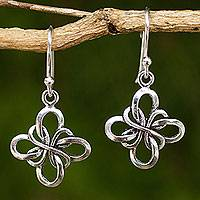 Sterling silver dangle earrings, 'Endless Ribbon'