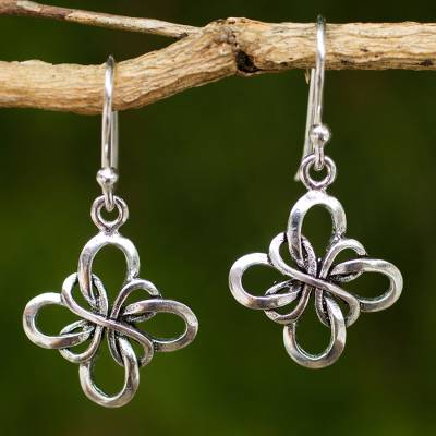 Sterling silver dangle earrings, 'Endless Ribbon' - Hand Crafted Thai Sterling Silver Dangle Hook Earrings