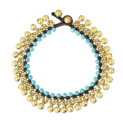 Brass Anklet with Blue Calcite and Jingling Bells