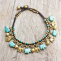 Brass and calcite anklet, 'Elephant Parade' - Brass Elephant Anklet with Blue Calcite and Jingling Bells