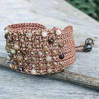 Agate wristband bracelet, 'Pai Earth' - Thai Hand Crocheted Brown Bracelet with Agate and Brass