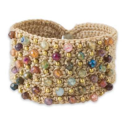 Agate wristband bracelet, 'Life in Pai' - Hand Crocheted Wristband Bracelet with Multi colour Agates