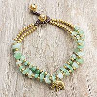 Brass and quartz beaded bracelet, 'Green Elephant' - Green Quartz Beaded Elephant Charm Bracelet from Thailand