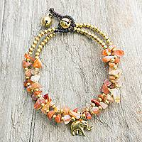 Brass and carnelian beaded bracelet, 'Bright Elephant' - Carnelian and Brass Beaded Elephant Bracelet from Thailand