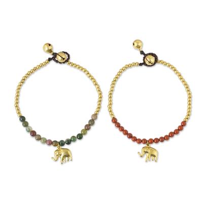 Jasper and Elephant Charm on Pair of Brass Beaded Bracelets