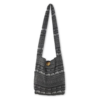 Cotton sling bag, 'Elephant Shadow' - Cotton Grey and Black Elephant Print Purse from Thailand