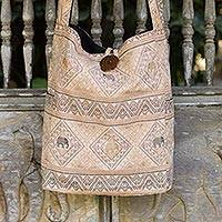 Cotton sling bag, 'Brown Elephant Shadow' - Earth Tone Thai Cotton Sling Tote Bag with Elephant Theme
