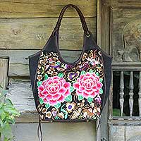 Leather accent embroidered shoulder bag Mandarin Peonies Thailand