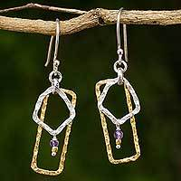 Amethyst dangle earrings, 'Lilac Smile' - Gold Plated and Sterling Silver Amethyst Artisan Earrings