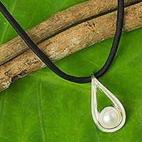 Cultured pearl pendant necklace, 'Iridescent Dew' - Fair Trade White Pearl and Sterling Silver Pendant Necklace