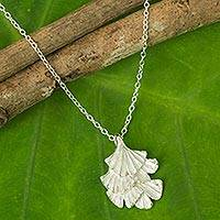 Sterling Silver Leaf Necklace Ginkgo Inspired (thailand)