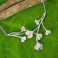Sterling silver pendant necklace, 'Pretty Ginkgo' - Leaf Pendant on Sterling Silver Necklace from Thailand