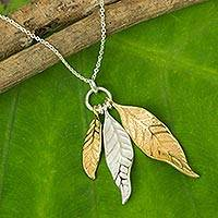 Gold plated pendant necklace, 'Pomegranate Protection' - Sterling Silver and Gold Plated Leaf Pendant Necklace