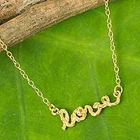 Gold plated pendant necklace, 'Written with Love' - Romantic Gold Plated Sterling Silver Love Pendant Necklace