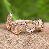 Pink gold plated band ring, 'Love' - Romantic Pink Gold Plated Sterling Silver Love Band Ring