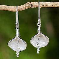 Sterling silver flower earrings, 'Enchanted Lilies' - Fair Trade Thai Jewelry Sterling Silver Flower Earrings