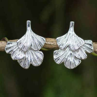 Sterling silver flower earrings, 'Ginkgo Inspired' - Sterling Silver Leaf Shaped Button Earrings from Thailand
