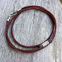 Men's leather bracelet, 'Bold Brown' - Men's Brown Leather Wrap Bracelet with Silver Detailing