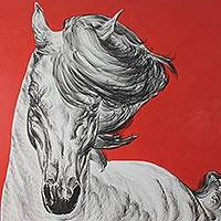 'White Magic I' (2014) - Original Thai Expressionist Horse Painting