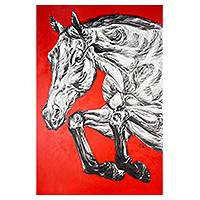 'Running' (2014) - Black and White Horse Painting on Textured Red Canvas